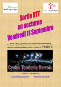 Section cyclos – Sortie Nocturne VTT le 11 septembre 2020